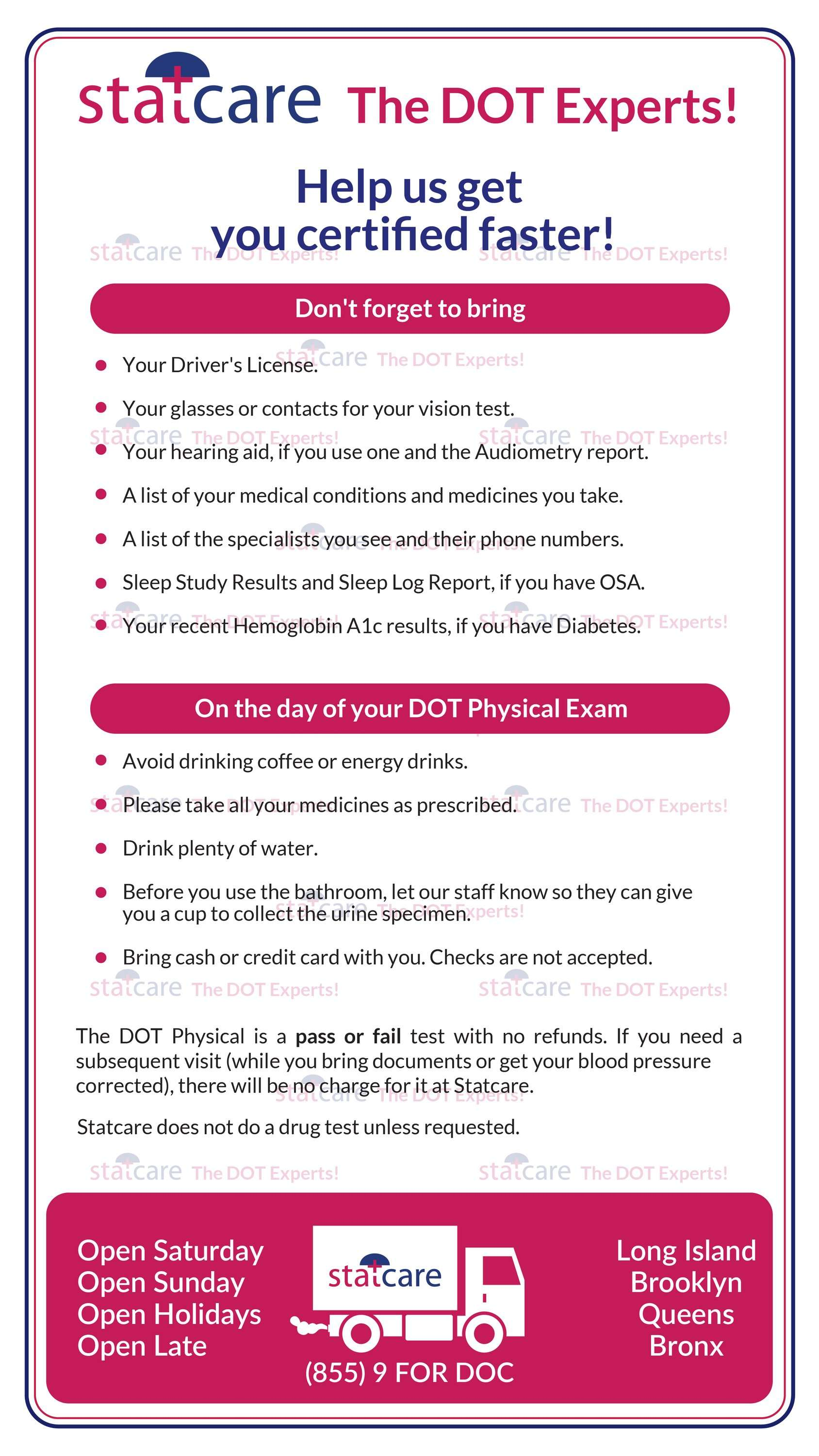 DOT Medical Exam Instructions Guide